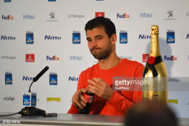 Grigor DImitrov of Bulgaria holds a press conference after he won the singles final of the Nitto ATP World Tour Finals at the O2 Arena London on...