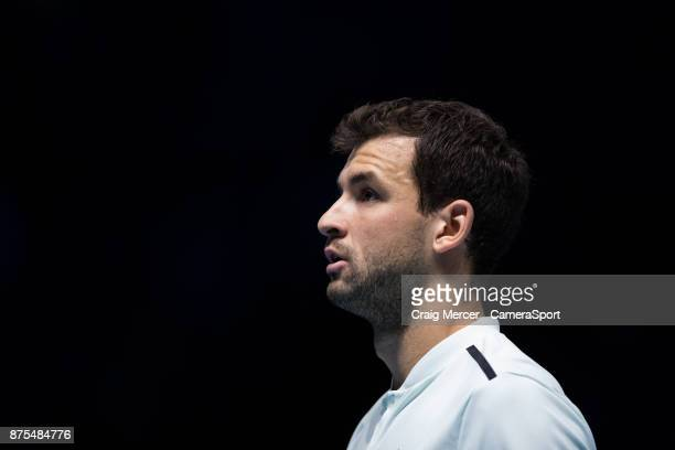 Grigor Dimitrov of Bulgaria in action against Pablo Carreno Busta of Spain in their Group Pete Sampras match today Dimitrov def Carreno Busta 61 61...