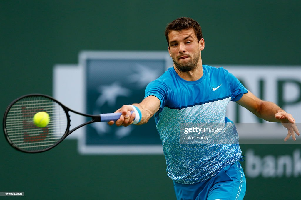 Grigor Dimitrov of Bulgaria in action against Tommy Robredo of Spain during day nine of the BNP Paribas Open tennis at the Indian Wells Tennis Garden on March 17, 2015 in Indian Wells, California.