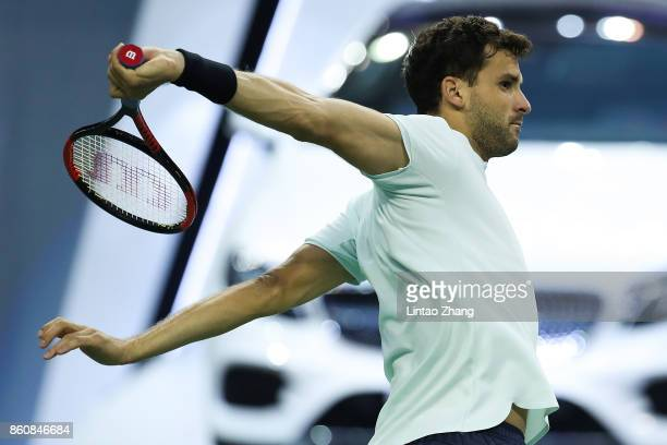 Grigor Dimitrov of Bulgaria in action during Men's singles quarter final mach against Rafael Nadal of Spain on day six of 2017 ATP Shanghai Rolex...