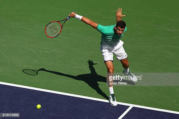 Grigor Dimitrov of Bulgaria in action in his match against Alexander Zverev of Germany during day seven of the BNP Paribas Open at Indian Wells...