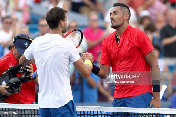 Grigor Dimitrov of Bulgaria is congratulated by Nick Kyrgios of Australia after their match during the men's final on day 9 of the Western Southern...