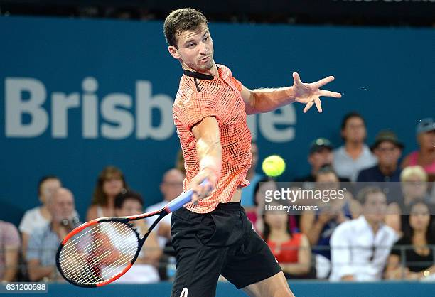 Grigor Dimitrov of Bulgaria plays a forehand against Kei Nishikori of Japan during the Men's Final on day eight of the 2017 Brisbane International at...