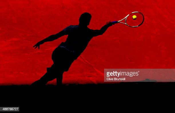 Grigor Dimitrov of Bulgaria plays a forehand against Tomas Berdych of the Czech Republic in their third round match during day six of the Mutua...