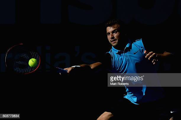 Grigor Dimitrov of Bulgaria plays a forehand against Viktor Troicki of Serbia during day five of the 2016 Brisbane International at Pat Rafter Arena...