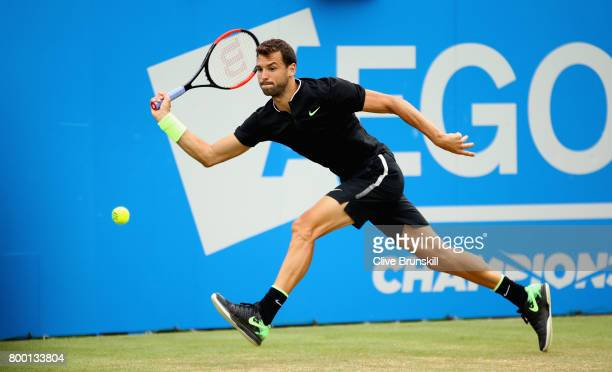 Grigor Dimitrov of Bulgaria plays a forehand during the mens singles quarter final match against Daniil Medvedev of Russia on day five of the 2017...