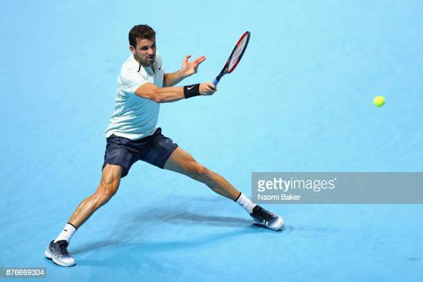 Grigor Dimitrov of Bulgaria plays a forehand during the singles final against David Goffin of Belgium during day eight of the 2017 Nitto ATP World...