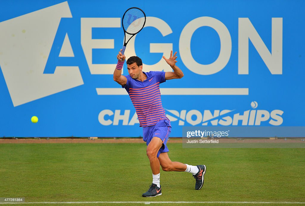 Grigor Dimitrov of Bulgaria plays a forehand in his men's singles first round match against Sam Querrey of USA during day one of the Aegon Championships at Queen's Club on June 15, 2015 in London, England.