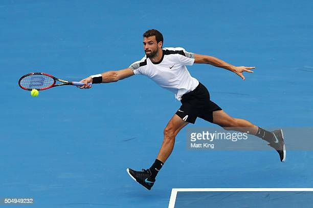 Grigor Dimitrov of Bulgaria plays a forehand in his quarter final match against Alexandr Dolgopolov of Ukraine during day five of the 2016 Sydney...