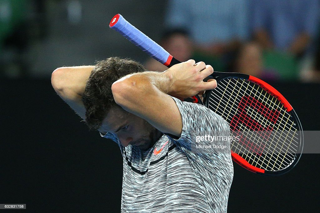 Grigor Dimitrov of Bulgaria reacts after losing the third set his semifinal match against Rafael Nadal of Spain on day 12 of the 2017 Australian Open at Melbourne Park on January 27, 2017 in Melbourne, Australia.