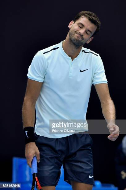 Grigor Dimitrov of Bulgaria reacts during his Men's singles quarterfinal match against Roberto Bautista Agut of Spain on day seven of the 2017 China...