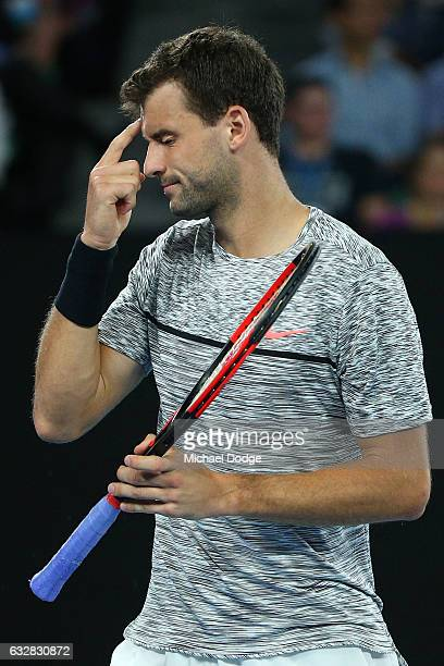 Grigor Dimitrov of Bulgaria reacts in his semifinal match against Rafael Nadal of Spain on day 12 of the 2017 Australian Open at Melbourne Park on...