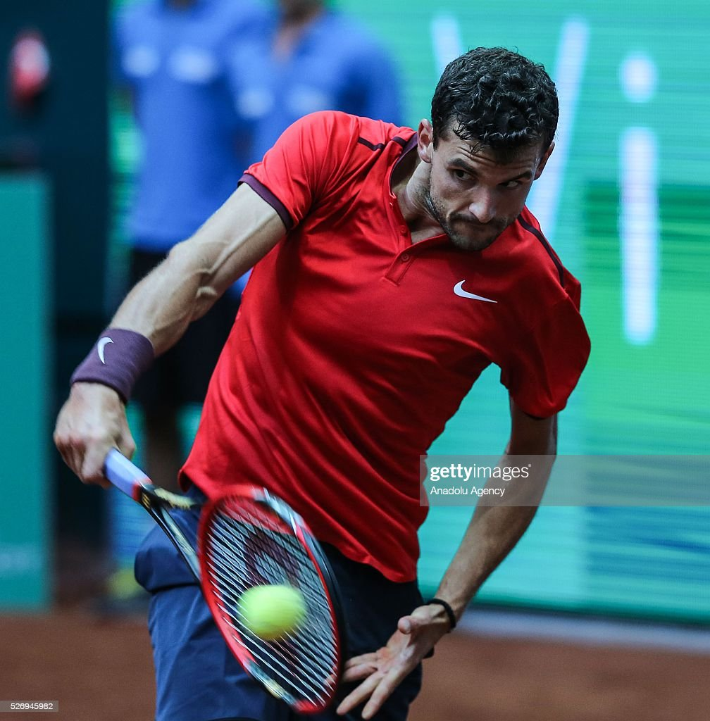 Grigor Dimitrov of Bulgaria returns the ball to Diego Scwartzman of Argentina during the men's single match between Grigor Dimitrov and Diego Scwartzman at the TEB BNP Paribas Istanbul Open tennis tournament at Koza World of Sports Arena in Istanbul, Turkey on May 01, 2016.