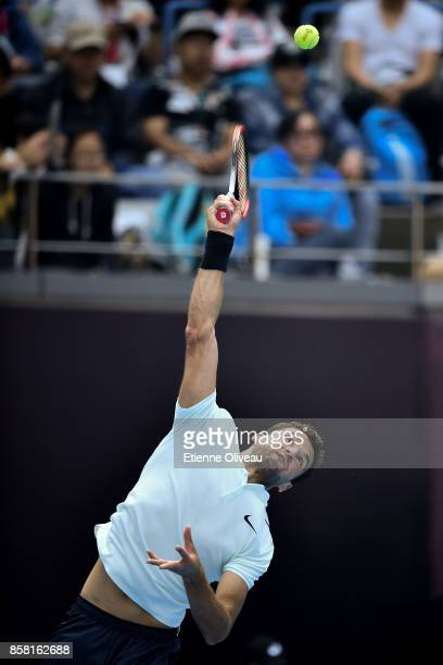 Grigor Dimitrov of Bulgaria serves during his Men's singles quarterfinal match against Roberto Bautista Agut of Spain on day seven of the 2017 China...