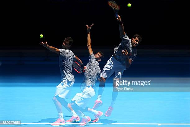 Grigor Dimitrov of Bulgaria serves in his second round match against Hyeon Chung of Korea on day four of the 2017 Australian Open at Melbourne Park...