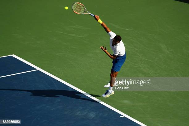 Grigor Dimitrov of Bulgaria serves to Nick Kyrgios of Australia during the men's final during Day 9 of of the Western and Southern Open at the Linder...