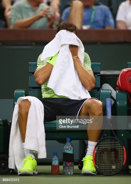 Grigor Dimitrov of Bulgaria shows his dejection during his three set defeat by Jack Sock of the United States in their third round match during day...