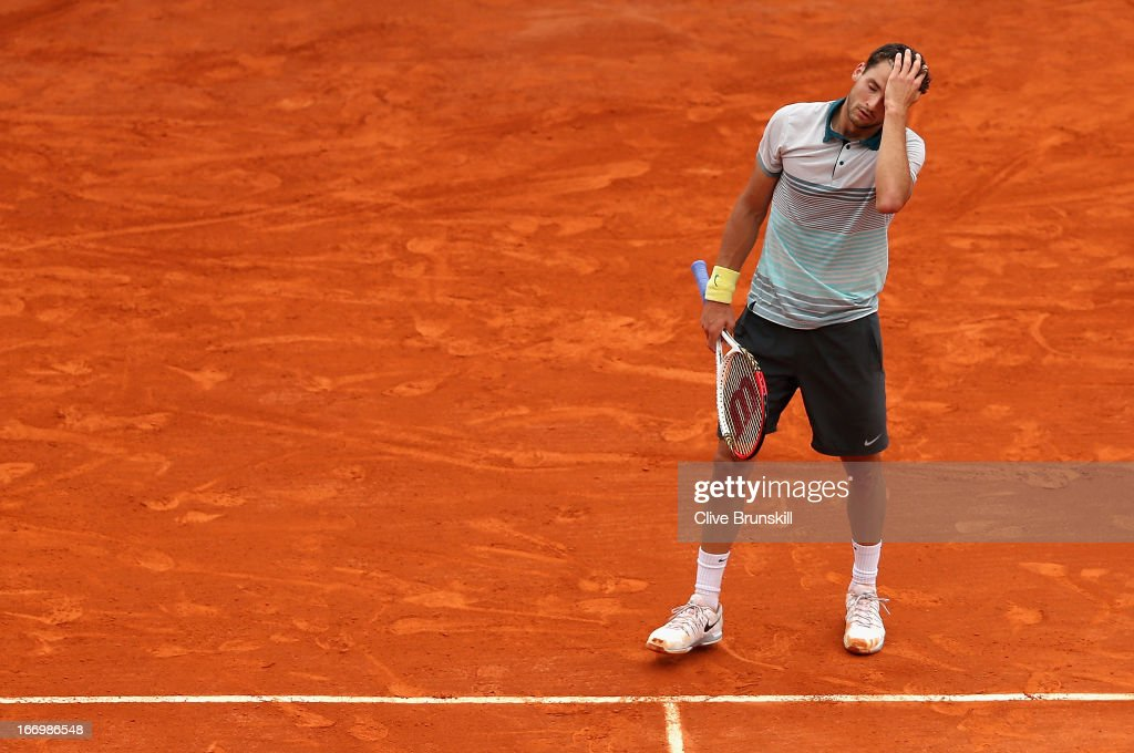 Grigor Dimitrov of Bulgaria shows his frustration during his three set defeat against Rafael Nadal of Spain in their quarter final match during day six of the ATP Monte Carlo Masters, at Monte-Carlo Sporting Club on April 19, 2013 in Monte-Carlo, Monaco.