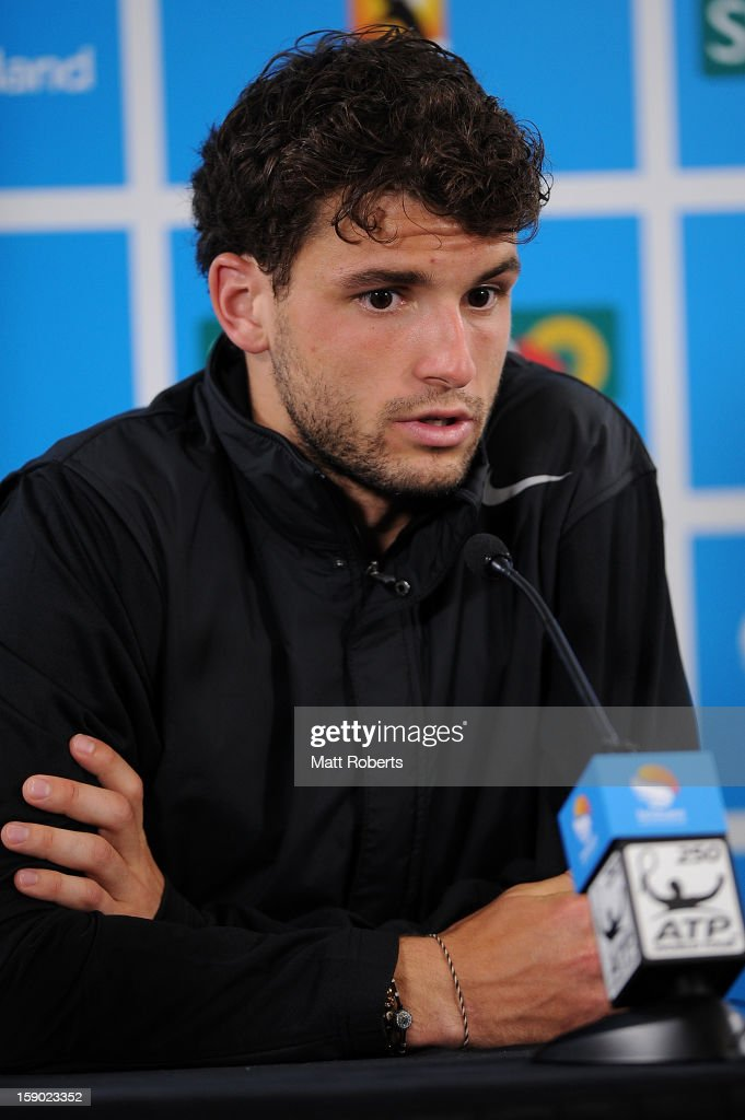 Grigor Dimitrov of Bulgaria speaks during a press conference after his final match against Andy Murray of Great Britain on day eight of the Brisbane International at Pat Rafter Arena on January 6, 2013 in Brisbane, Australia.