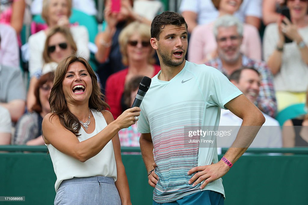 <a gi-track='captionPersonalityLinkClicked' href=/galleries/search?phrase=Grigor+Dimitrov&family=editorial&specificpeople=4332557 ng-click='$event.stopPropagation()'>Grigor Dimitrov</a> of Bulgaria talks to <a gi-track='captionPersonalityLinkClicked' href=/galleries/search?phrase=Zoe+Hardman&family=editorial&specificpeople=2278465 ng-click='$event.stopPropagation()'>Zoe Hardman</a> after his match against Jerzy Janowicz of Poland during The Boodles Tennis Event at Stoke Park on June 21, 2013 in Stoke Poges, England.