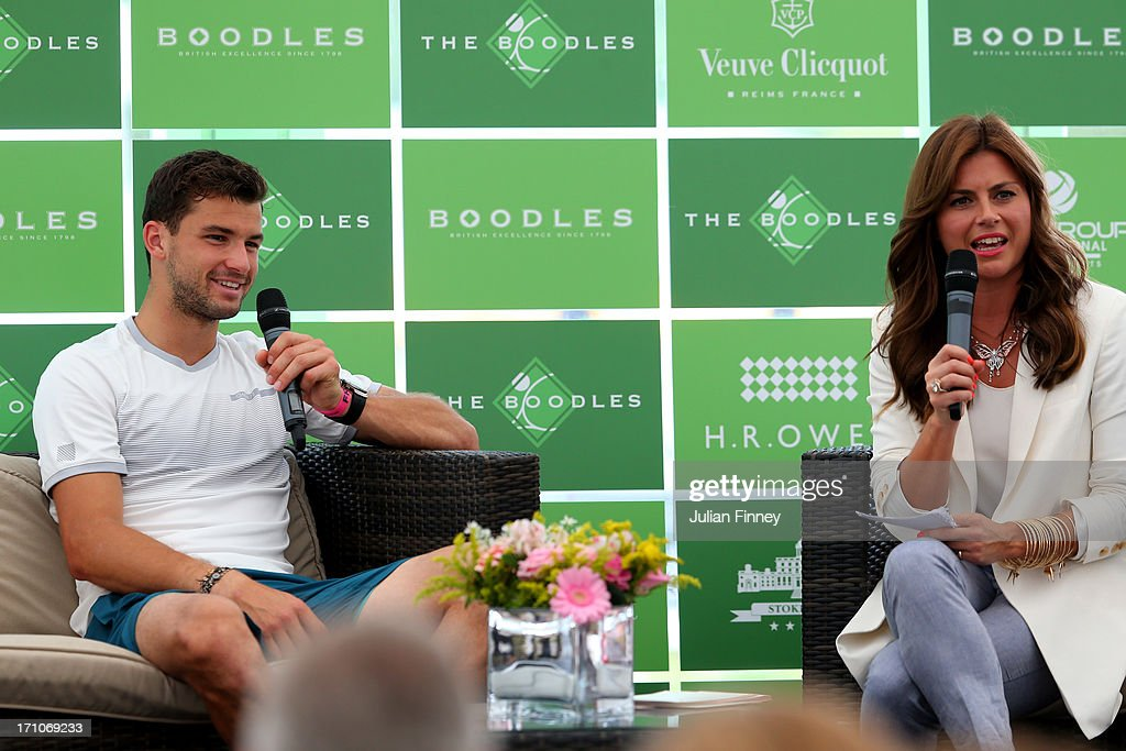 <a gi-track='captionPersonalityLinkClicked' href=/galleries/search?phrase=Grigor+Dimitrov&family=editorial&specificpeople=4332557 ng-click='$event.stopPropagation()'>Grigor Dimitrov</a> of Bulgaria talks to <a gi-track='captionPersonalityLinkClicked' href=/galleries/search?phrase=Zoe+Hardman&family=editorial&specificpeople=2278465 ng-click='$event.stopPropagation()'>Zoe Hardman</a> before his match against Jerzy Janowicz of Poland during The Boodles Tennis Event at Stoke Park on June 21, 2013 in Stoke Poges, England.