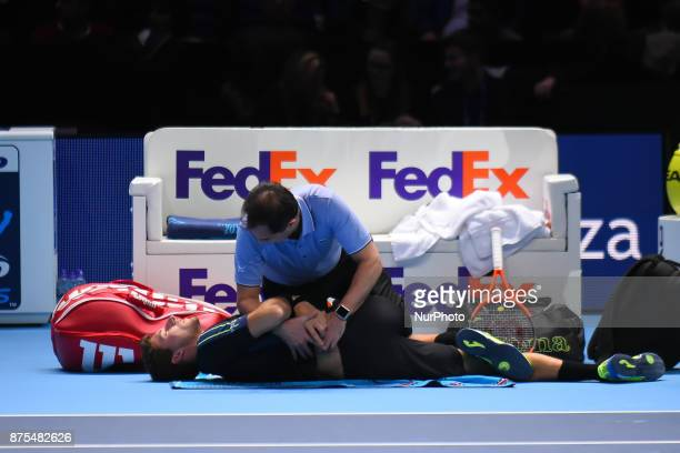Grigor Dimitrov of Bulgaria wins his Singles match against Pablo Carreno Busta of Spain on day six of Nitto ATP World Tour Finals at the O2 Arena