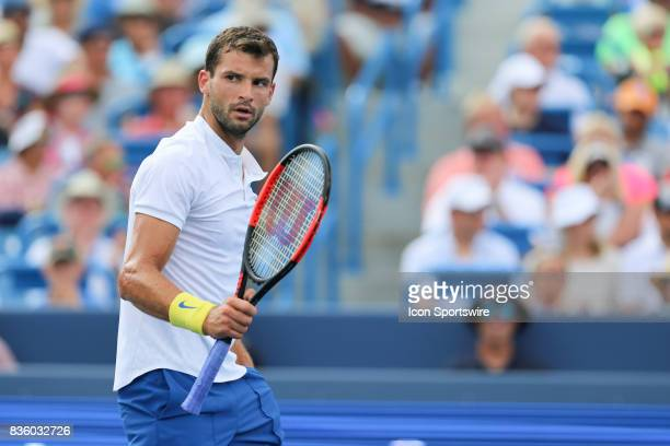 Grigor Dimitrov reacts during the championship match against Nick Kyrgios during the Western Southern Open at the Lindner Family Tennis Center in...
