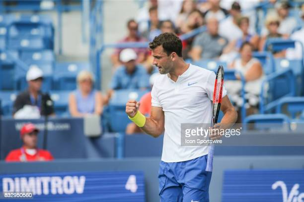 Grigor Dimitrov reacts to a point during the Western Southern Open at the Lindner Family Tennis Center in Mason Ohio on August 16 2017
