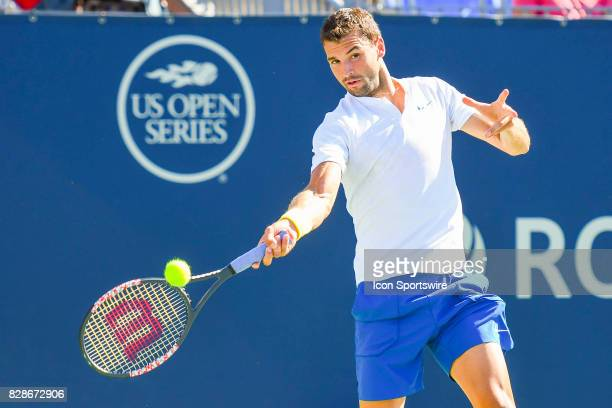 Grigor Dimitrov returns the ball during his second round match at ATP Coupe Rogers on August 9 at Uniprix Stadium in Montreal QC