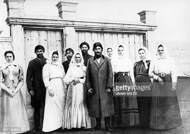 Grigori Rasputin monk faith healer Russia With a group of his disciples no date
