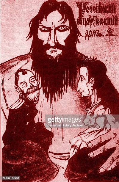 Grigori Yefimovich Rasputin 18691916 Shown as the eminence gris controlling the Tsar and Tsarina Russian priest and mystic who became a private...
