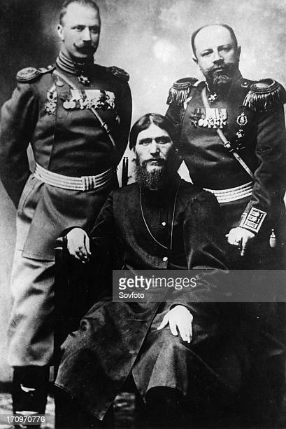 Grigori yefimovich rasputin with two russian officers 1890s
