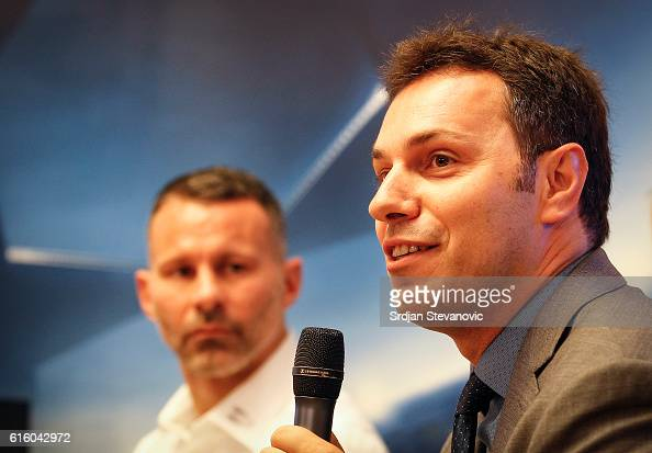 Grigorios Biskos UEFA representative and Ryan Giggs during the UEFA Champions League Trophy Tour by UniCredit press conference at UniCredit Head...
