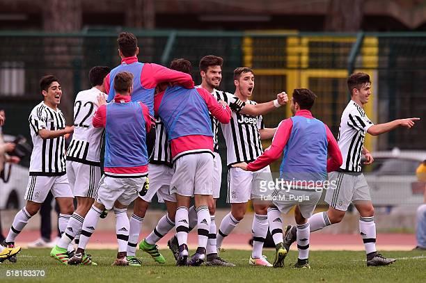 Grigoris Kastanos of Juventus celebrates with team mates after scoring the opening goal during the Viareggio Juvenile Tournament match between FC...