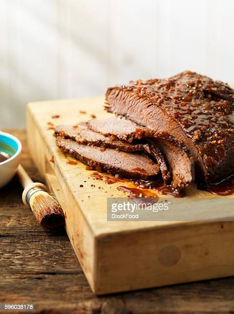 Grilled and marinated beef brisket, sliced