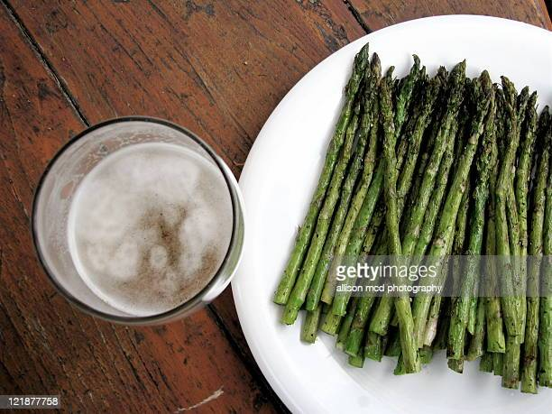Grilled asparagus and pint of beer