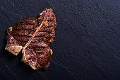 Grilled beef porterhouse steak . T-bone barbecue meat