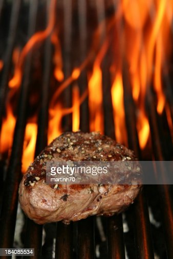 grilled beef steak and fire