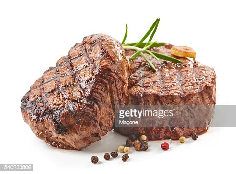 grilled beef steaks : Foto de stock