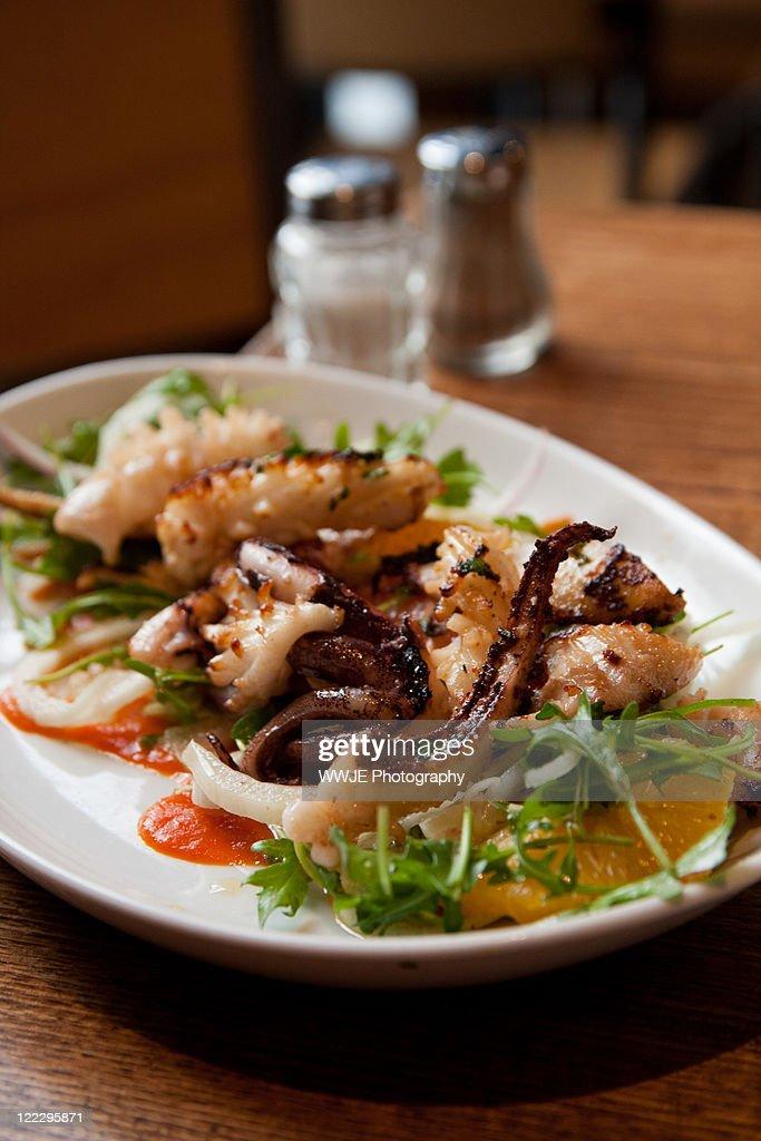 Grilled calamari salad : Stock Photo