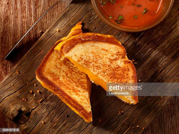 Grilled Cheddar Cheese Sandwich With Tomato Soup