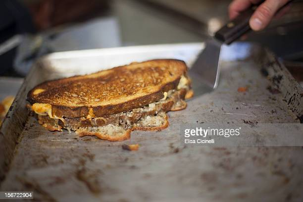 Grilled cheese sandwich hot off the grill
