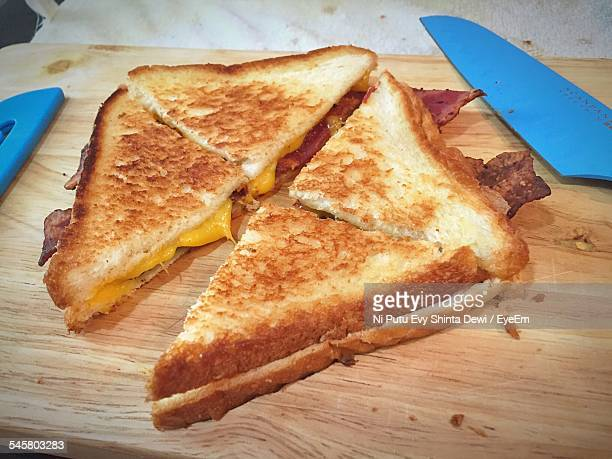 Grilled Cheese Sandwich On Cutting Board