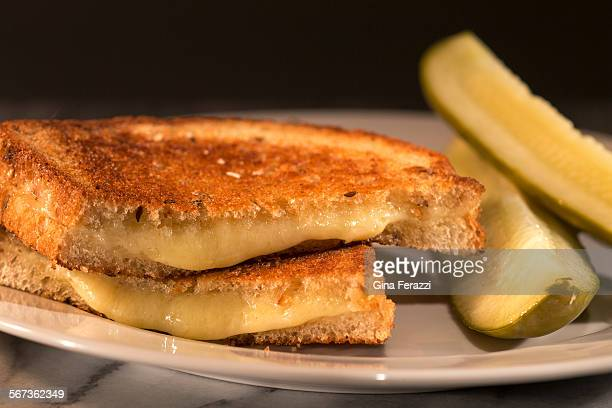 Grilled cheese with gruyere on rye served with garlic pickles and french mustard is photographed in the Los Angeles Times studio on February 25 2015...