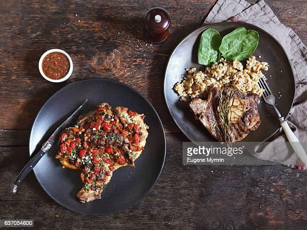 Grilled chicken and pork