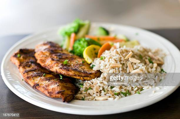 Blanc de poulet grillé et riz
