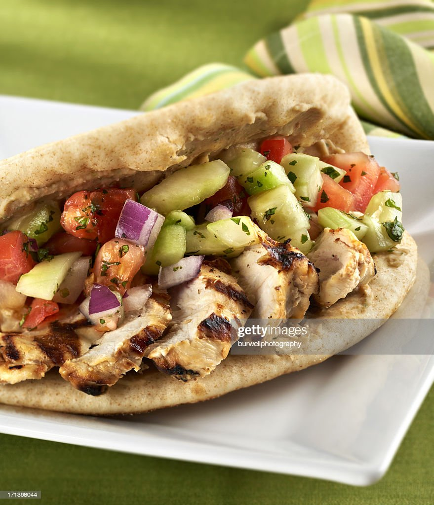 Grilled Chicken Breast Flat bread Sandwich : Stock Photo