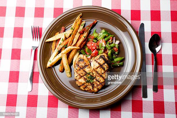 Grilled Chicken Breast Green Beans and French Fries