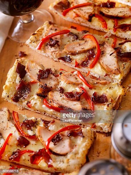 Frango grelhado Carbonara Pizza de Pão Ázimo