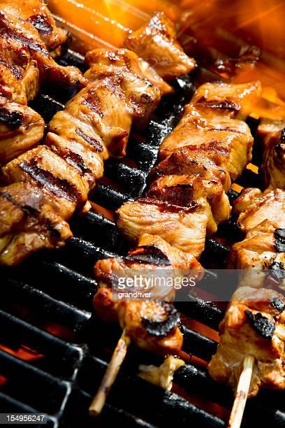 Kebabs au poulet grillé sur le gril